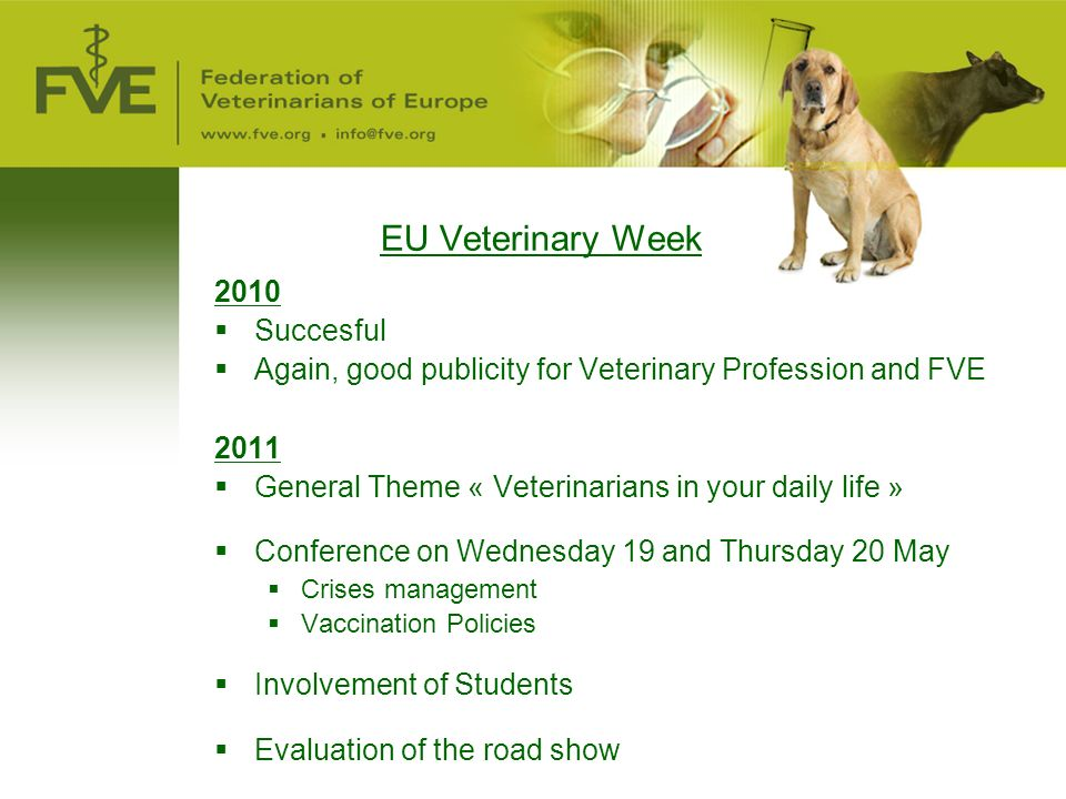 EU Veterinary Week 2010  Succesful  Again, good publicity for Veterinary Profession and FVE 2011  General Theme « Veterinarians in your daily life »  Conference on Wednesday 19 and Thursday 20 May  Crises management  Vaccination Policies  Involvement of Students  Evaluation of the road show