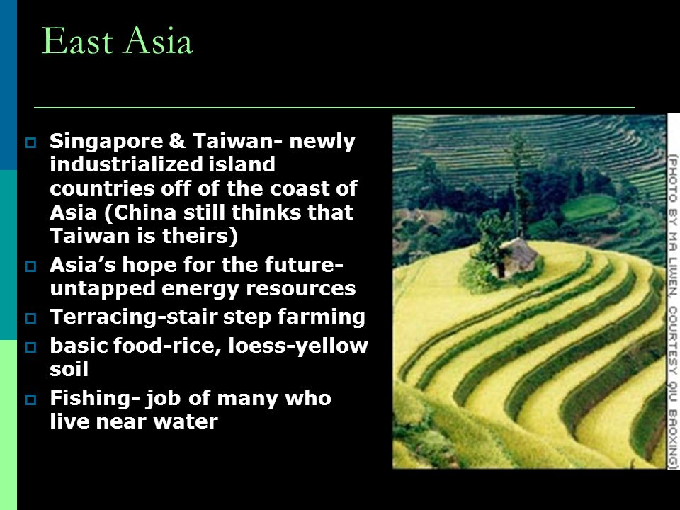East Asia  Singapore & Taiwan- newly industrialized island countries off of the coast of Asia (China still thinks that Taiwan is theirs)  Asia's hope for the future- untapped energy resources  Terracing-stair step farming  basic food-rice, loess-yellow soil  Fishing- job of many who live near water