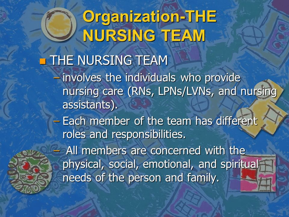 Organization-THE NURSING TEAM n THE NURSING TEAM –involves the individuals who provide nursing care (RNs, LPNs/LVNs, and nursing assistants).