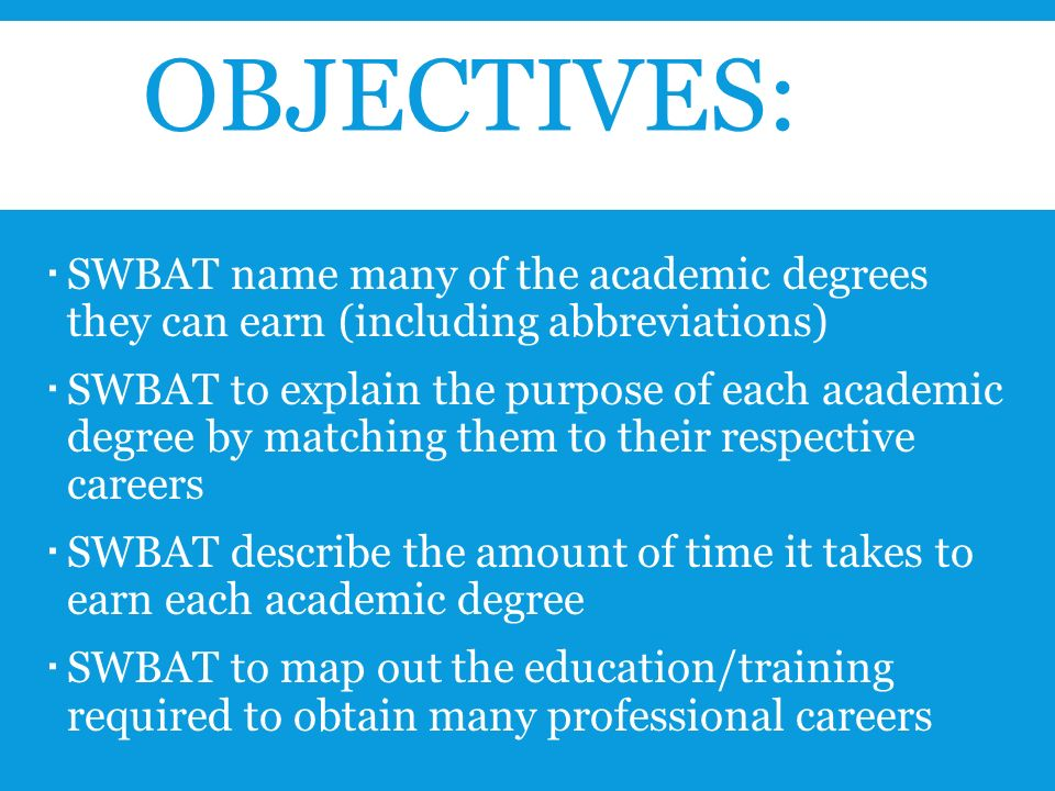 1 objectives