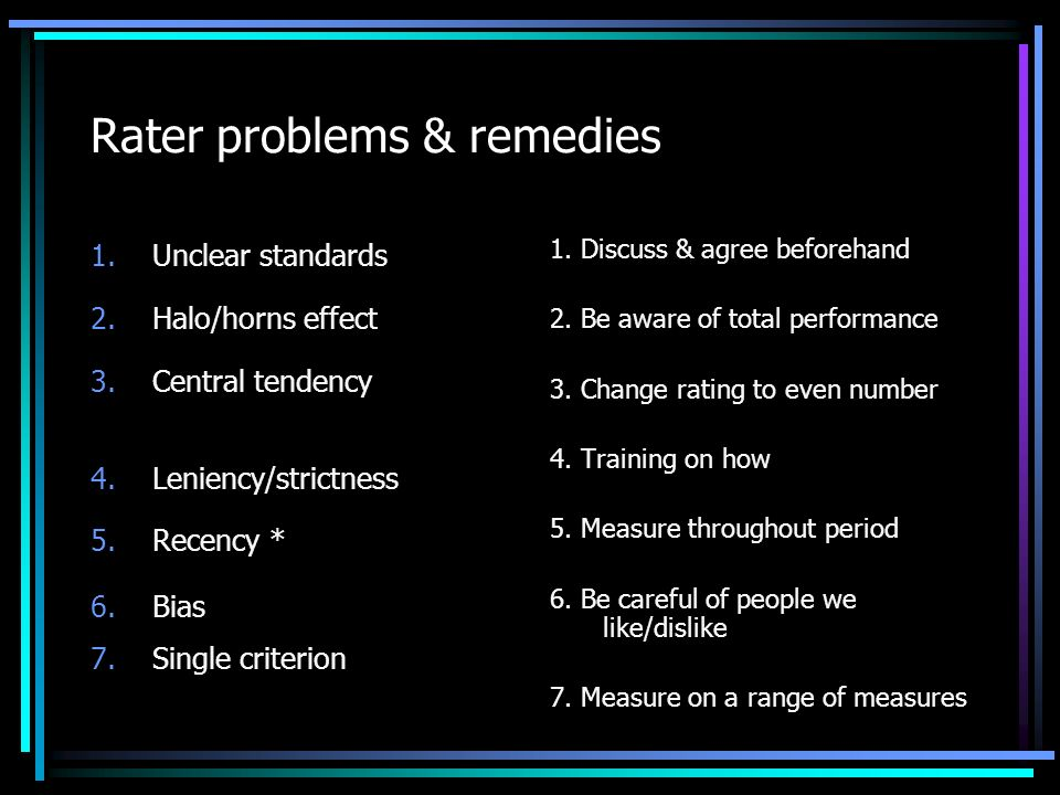 Rater problems & remedies 1.Unclear standards 2.Halo/horns effect 3.Central tendency 4.Leniency/strictness 5.Recency * 6.Bias 7.Single criterion 1.