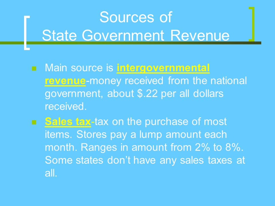 Sources of State Government Revenue Main source is intergovernmental revenue-money received from the national government, about $.22 per all dollars received.