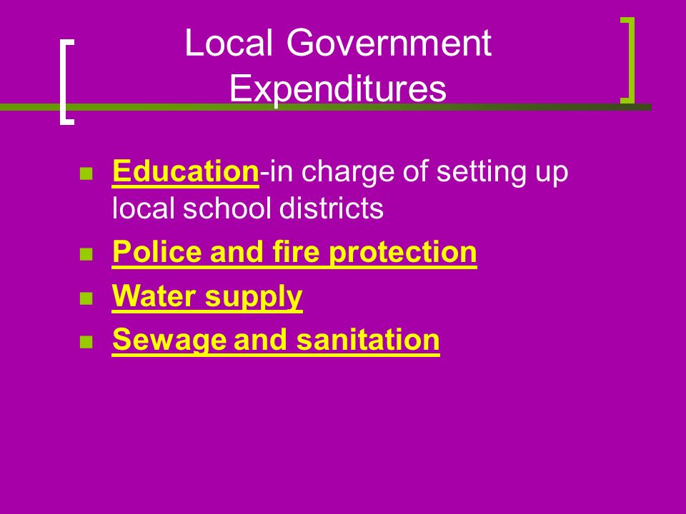 Local Government Expenditures Education-in charge of setting up local school districts Police and fire protection Water supply Sewage and sanitation