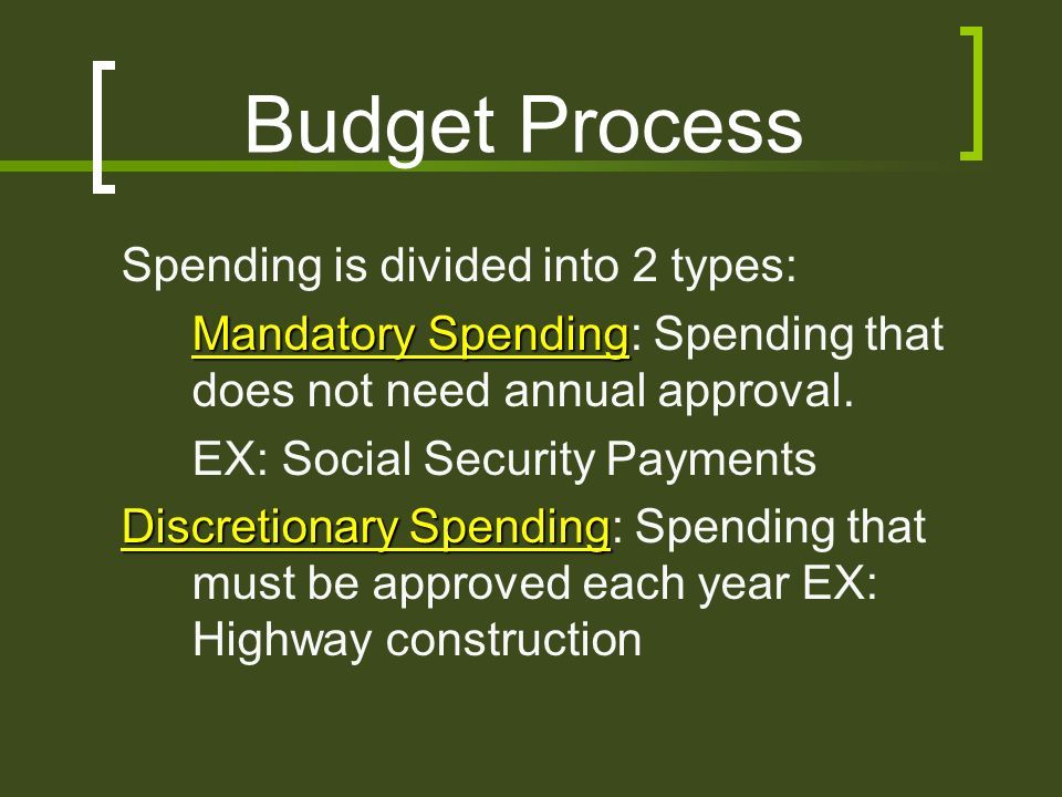 Budget Process Spending is divided into 2 types: Mandatory Spending: Spending that does not need annual approval.