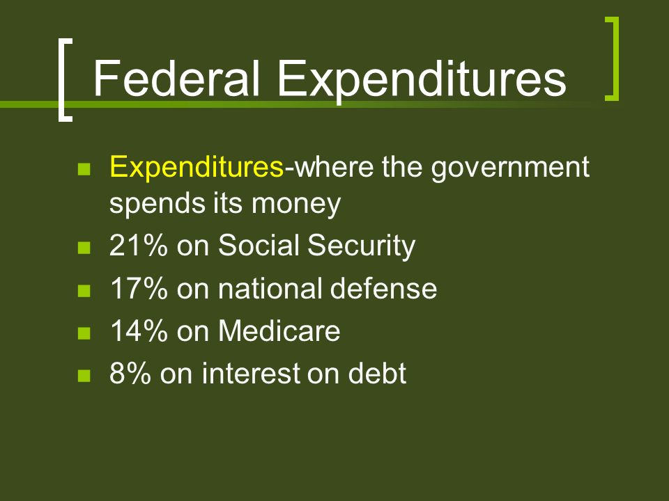 Federal Expenditures Expenditures-where the government spends its money 21% on Social Security 17% on national defense 14% on Medicare 8% on interest on debt