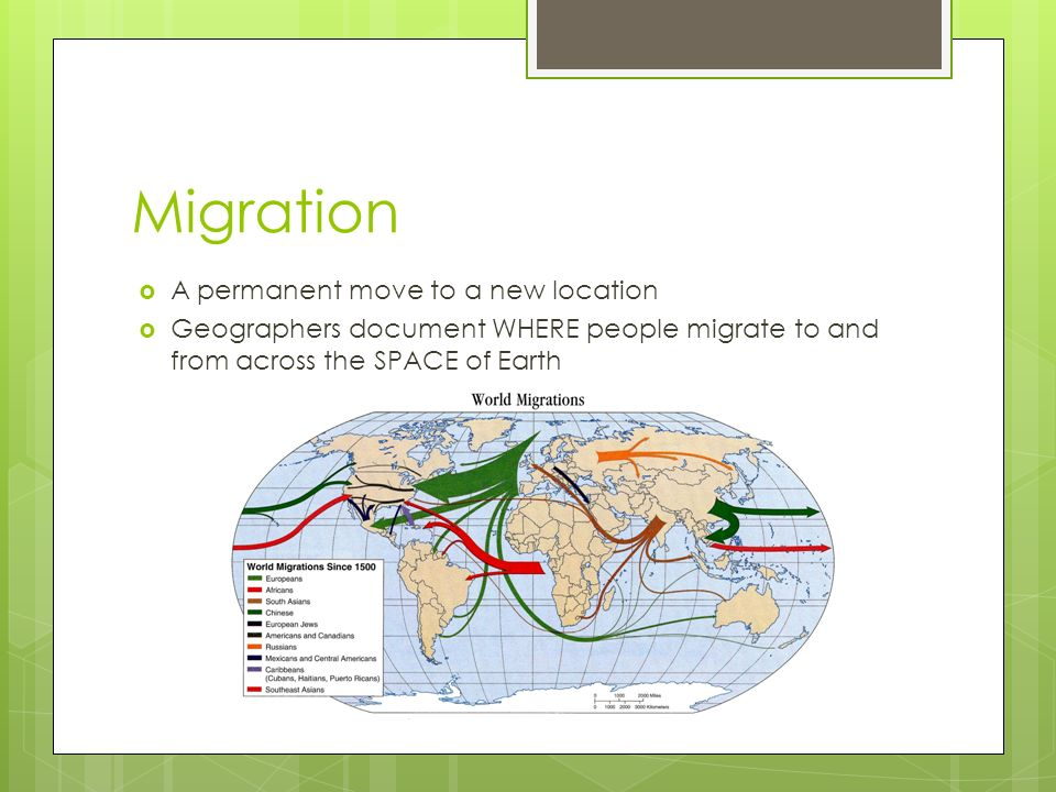 Migration  A permanent move to a new location  Geographers document WHERE people migrate to and from across the SPACE of Earth