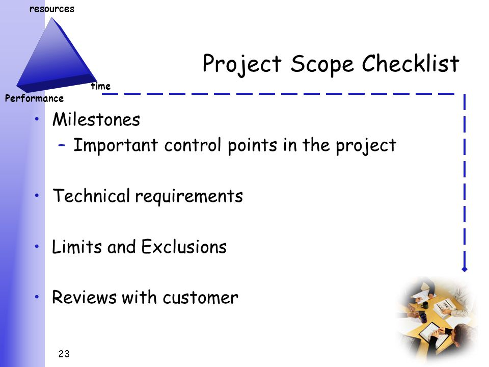 23 Resources Performance Time Project Scope Checklist Milestones Important Control Points In The Technical Requirements Limits And Exclusions