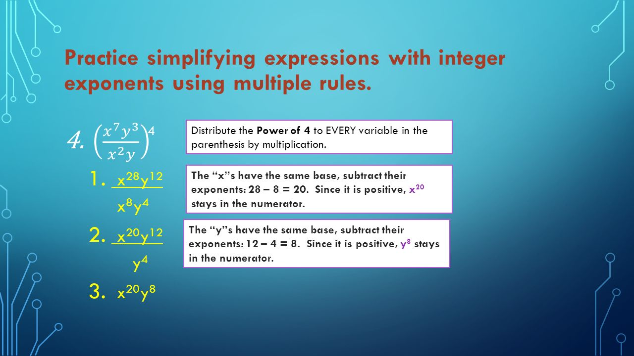 SIMPLIFY EXPRESSIONS WITH INTEGER EXPONENTS PRACTICE ALL OF THE ...