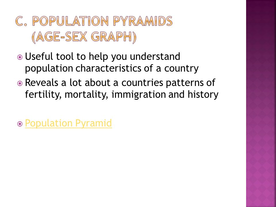  Useful tool to help you understand population characteristics of a country  Reveals a lot about a countries patterns of fertility, mortality, immigration and history  Population Pyramid Population Pyramid