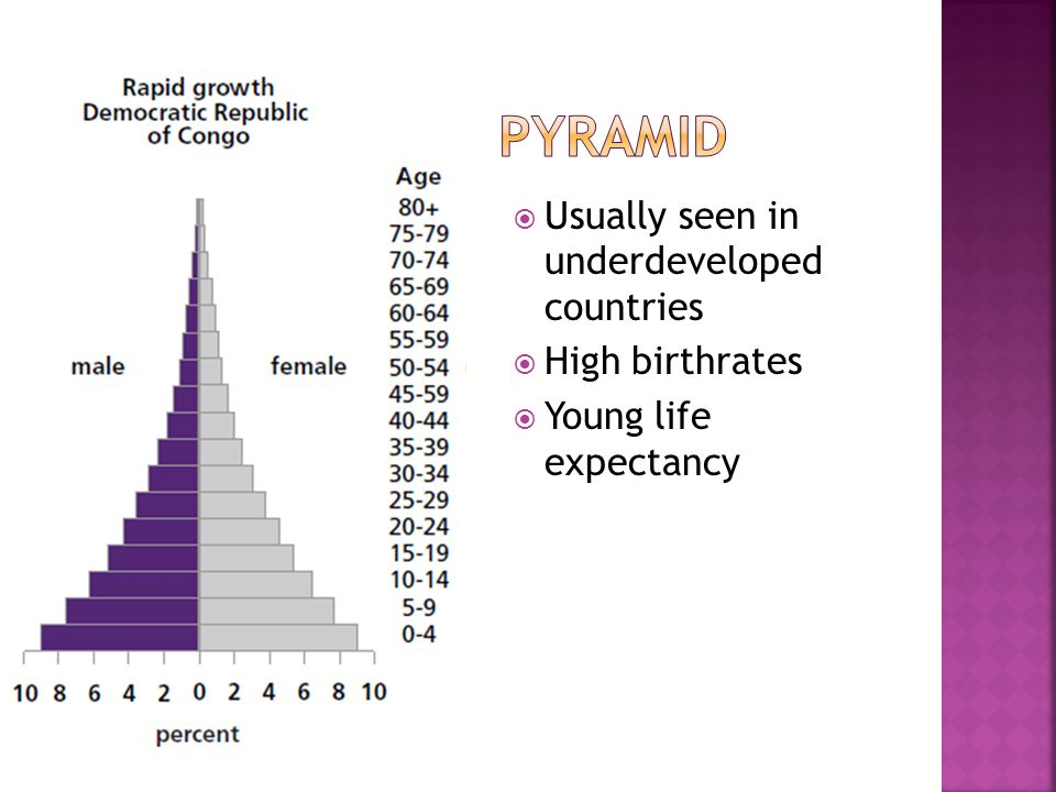  Usually seen in underdeveloped countries  High birthrates  Young life expectancy