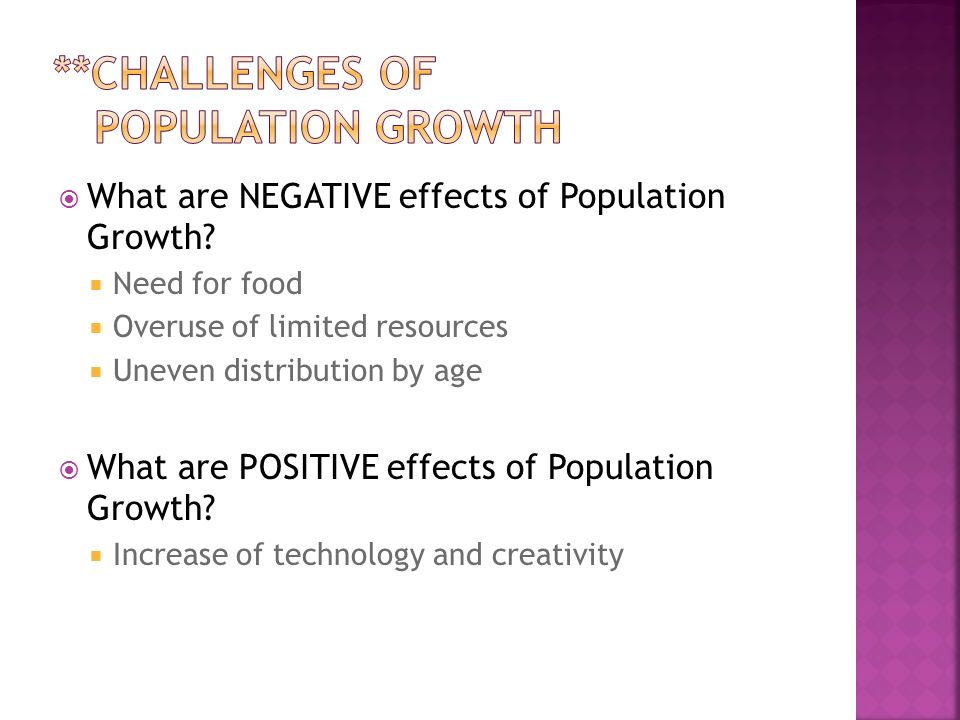  What are NEGATIVE effects of Population Growth.