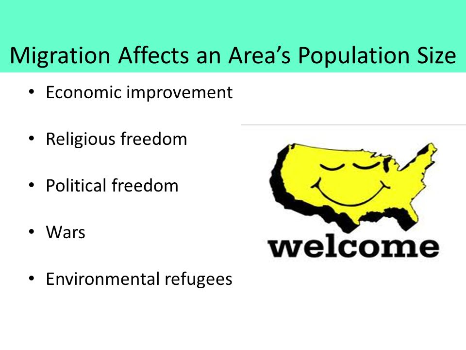 Migration Affects an Area's Population Size Economic improvement Religious freedom Political freedom Wars Environmental refugees