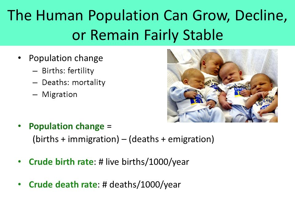 The Human Population Can Grow, Decline, or Remain Fairly Stable Population change – Births: fertility – Deaths: mortality – Migration Population change = (births + immigration) – (deaths + emigration) Crude birth rate: # live births/1000/year Crude death rate: # deaths/1000/year