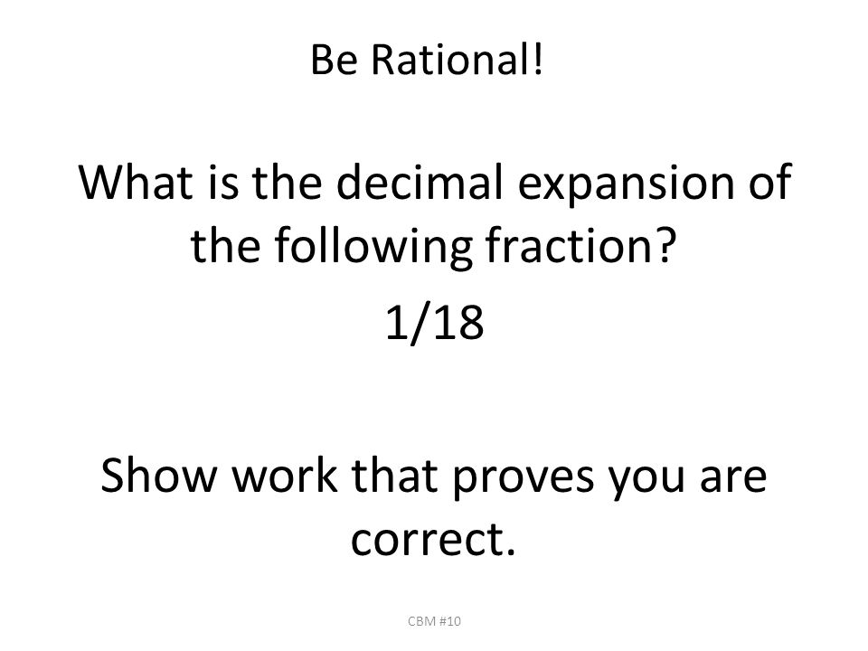 What Is The Decimal Expansion Of The Following Fraction
