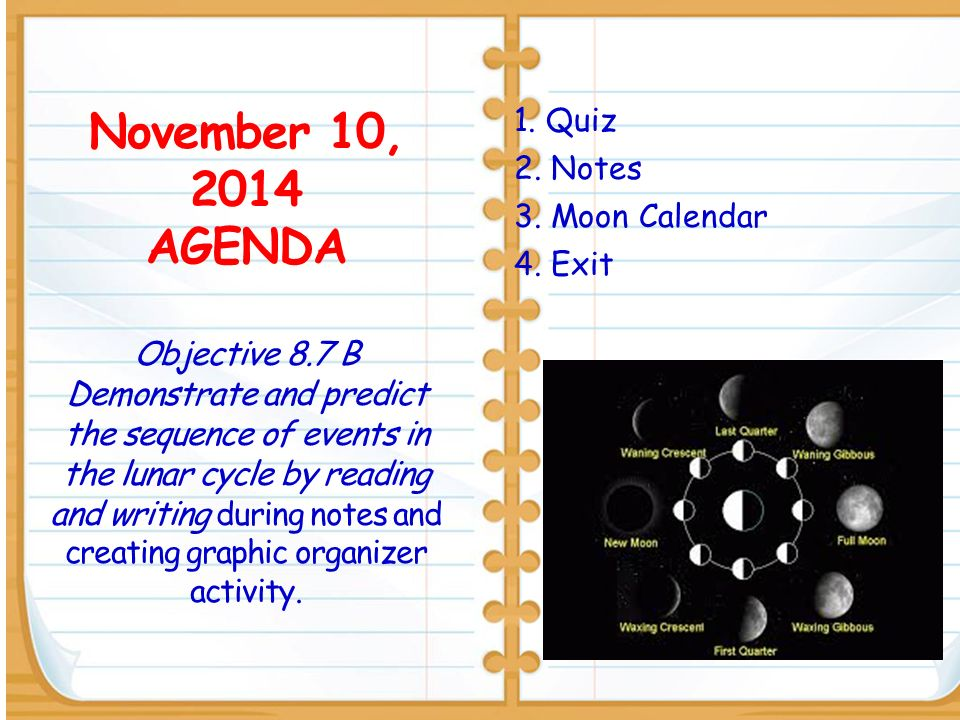 November 10, 2014 AGENDA Objective 8.7 B Demonstrate and predict the sequence of events in the lunar cycle by reading and writing during notes and creating graphic organizer activity.