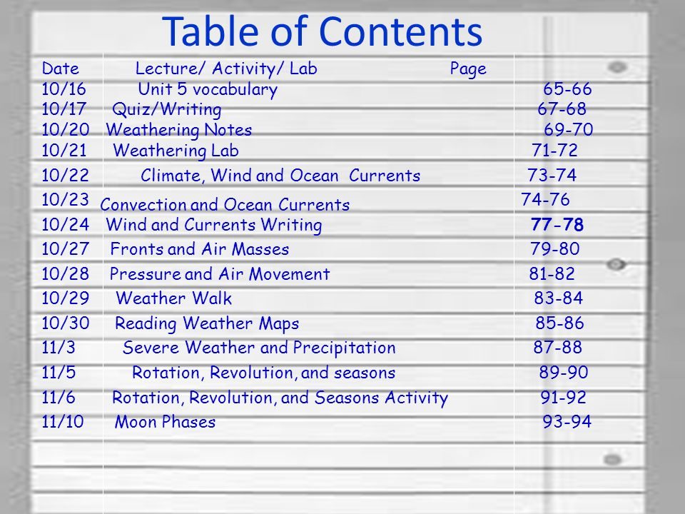 Date Lecture/ Activity/ Lab Page 10/16 Unit 5 vocabulary /17 Quiz/Writing /20 Weathering Notes /21 Weathering Lab /22 Climate, Wind and Ocean Currents / /24 Wind and Currents Writing /27 Fronts and Air Masses /28 Pressure and Air Movement /29 Weather Walk /30 Reading Weather Maps /3 Severe Weather and Precipitation /5 Rotation, Revolution, and seasons /6 Rotation, Revolution, and Seasons Activity /10 Moon Phases Table of Contents Convection and Ocean Currents