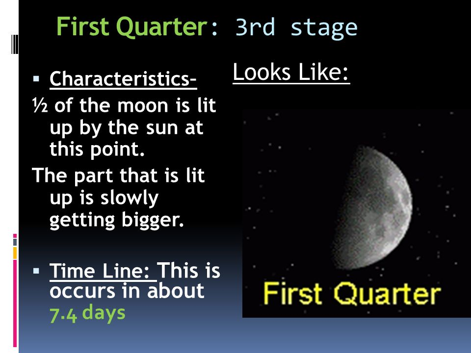  Characteristics– ½ of the moon is lit up by the sun at this point.