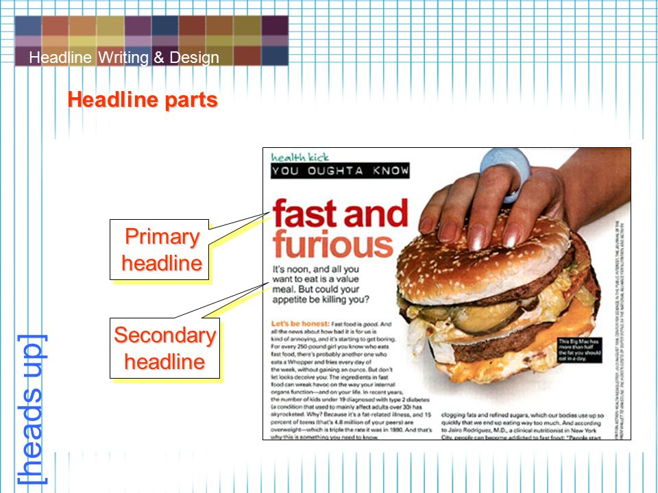 Headline Writing & Design [heads up] Headline parts Primary headline Secondary headline