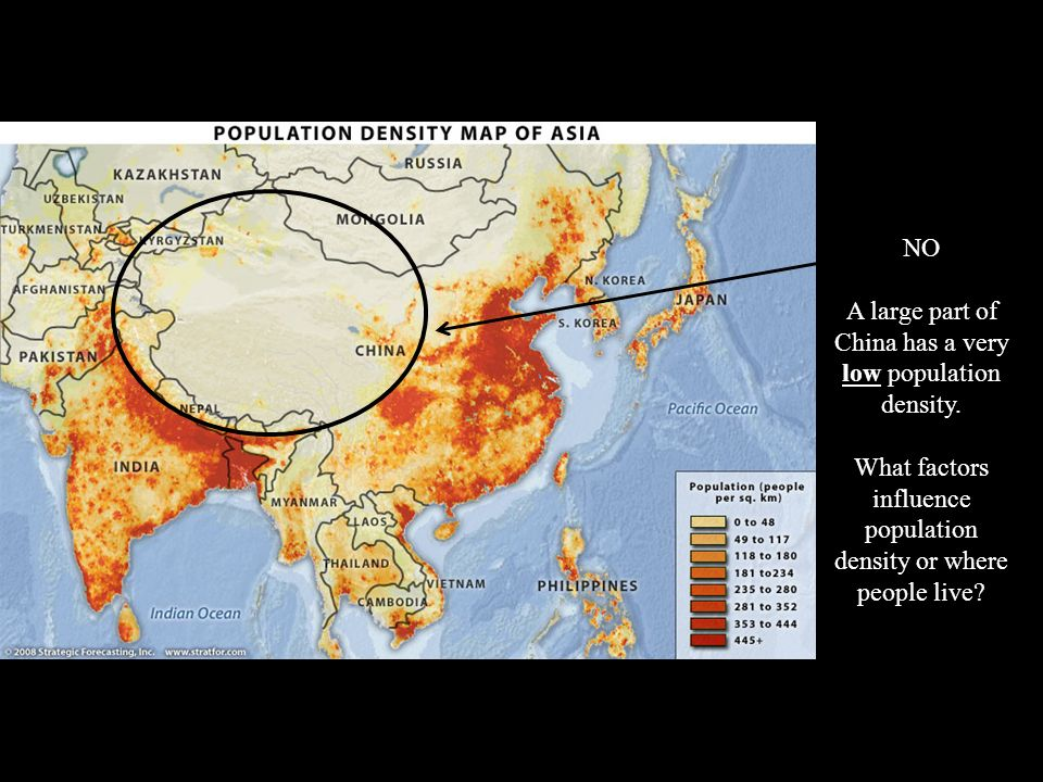 NO A large part of China has a very low population density.