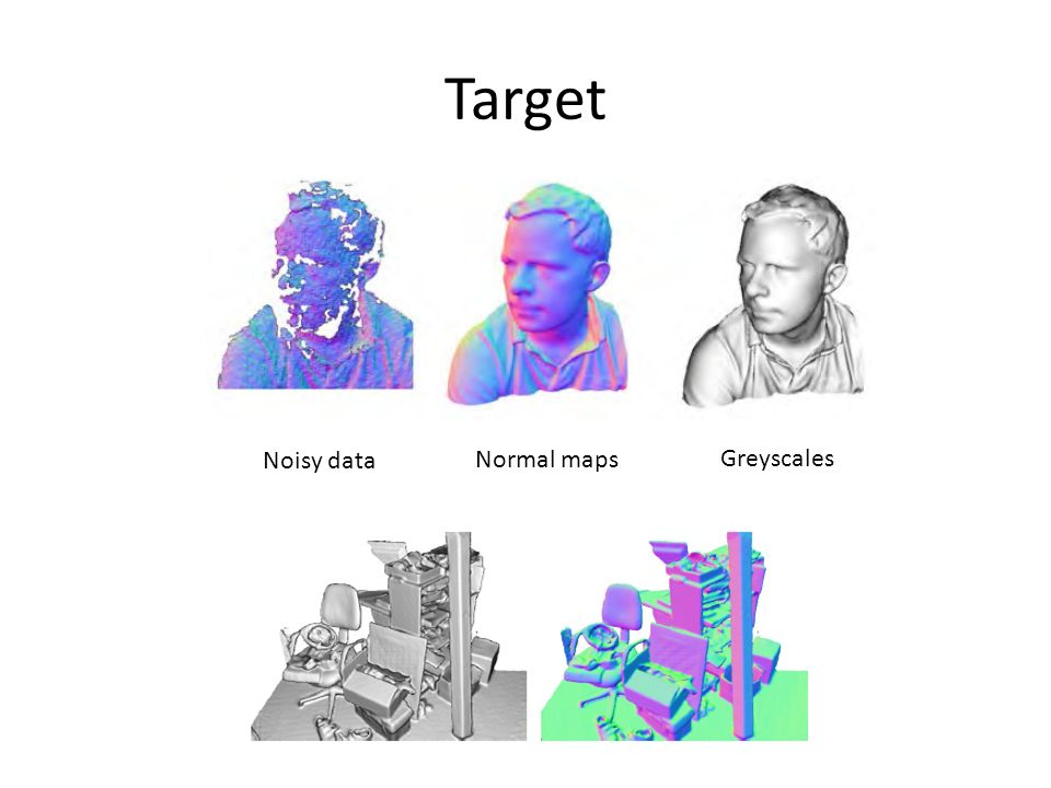 Target Normal maps Greyscales Noisy data