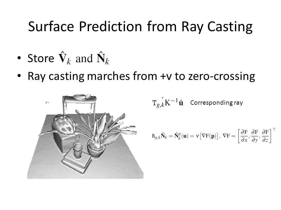 Surface Prediction from Ray Casting Store Ray casting marches from +v to zero-crossing Corresponding ray