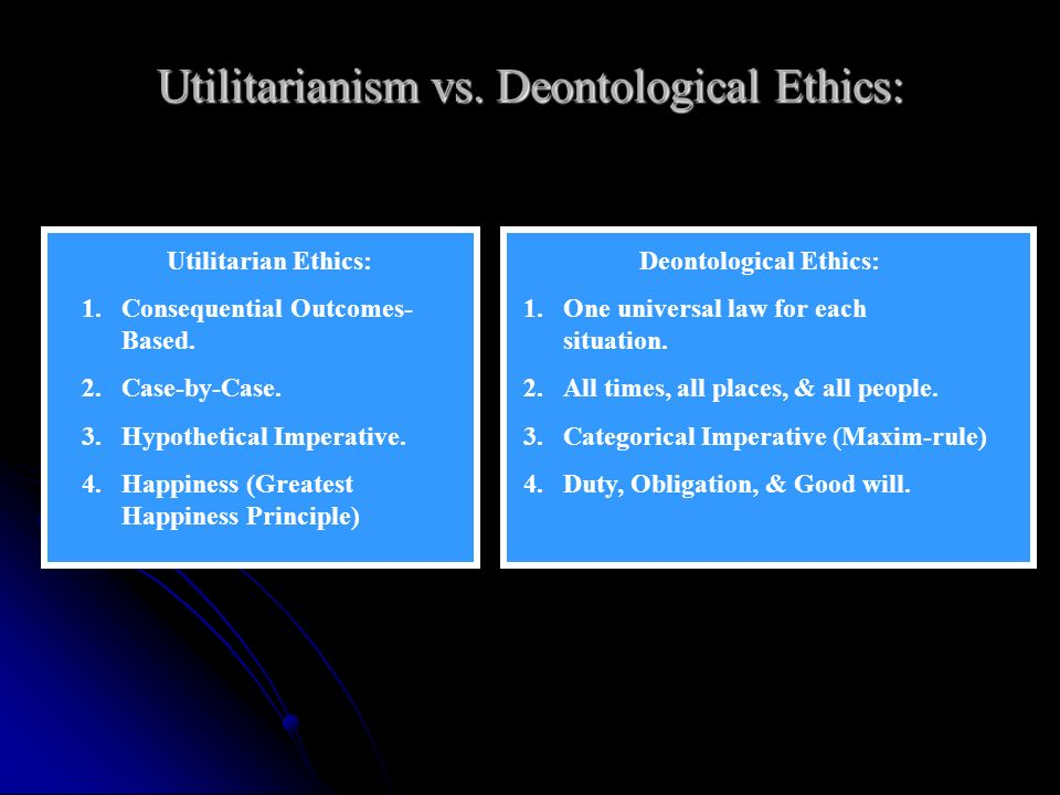 compare and contrast utilitarianism and deontology