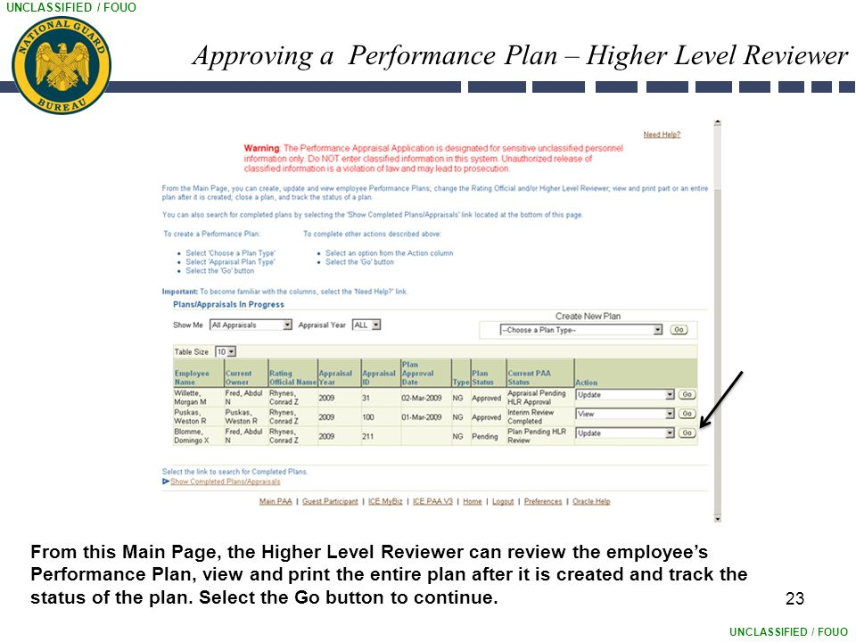 UNCLASSIFIED / FOUO Approving a Performance Plan – Higher Level Reviewer 23 From this Main Page, the Higher Level Reviewer can review the employee's Performance Plan, view and print the entire plan after it is created and track the status of the plan.