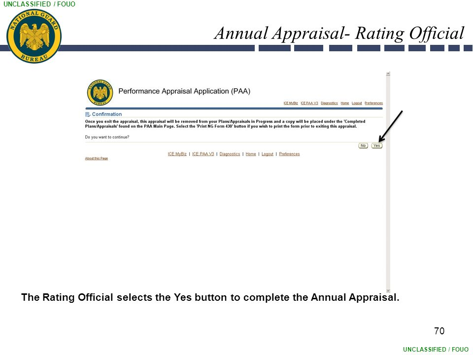UNCLASSIFIED / FOUO Annual Appraisal- Rating Official 70 The Rating Official selects the Yes button to complete the Annual Appraisal.