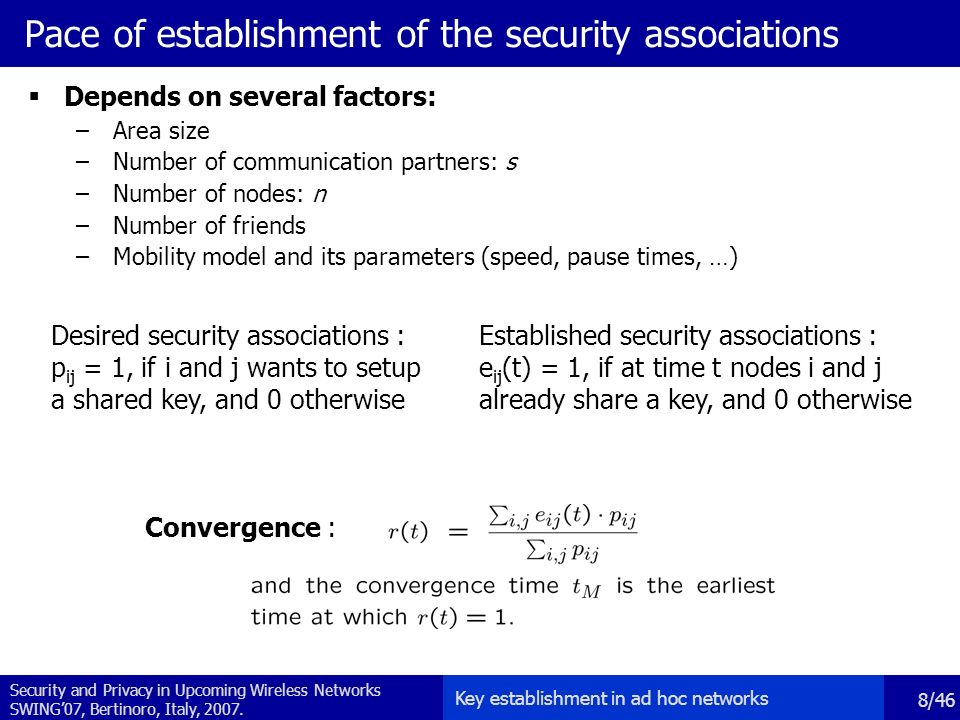 Security and Privacy in Upcoming Wireless Networks SWING'07, Bertinoro, Italy, 2007.