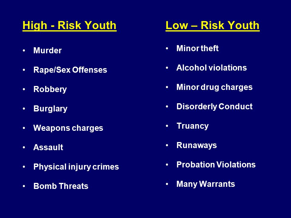 High - Risk Youth Murder Rape/Sex Offenses Robbery Burglary Weapons charges Assault Physical injury crimes Bomb Threats Low – Risk Youth Minor theft Alcohol violations Minor drug charges Disorderly Conduct Truancy Runaways Probation Violations Many Warrants