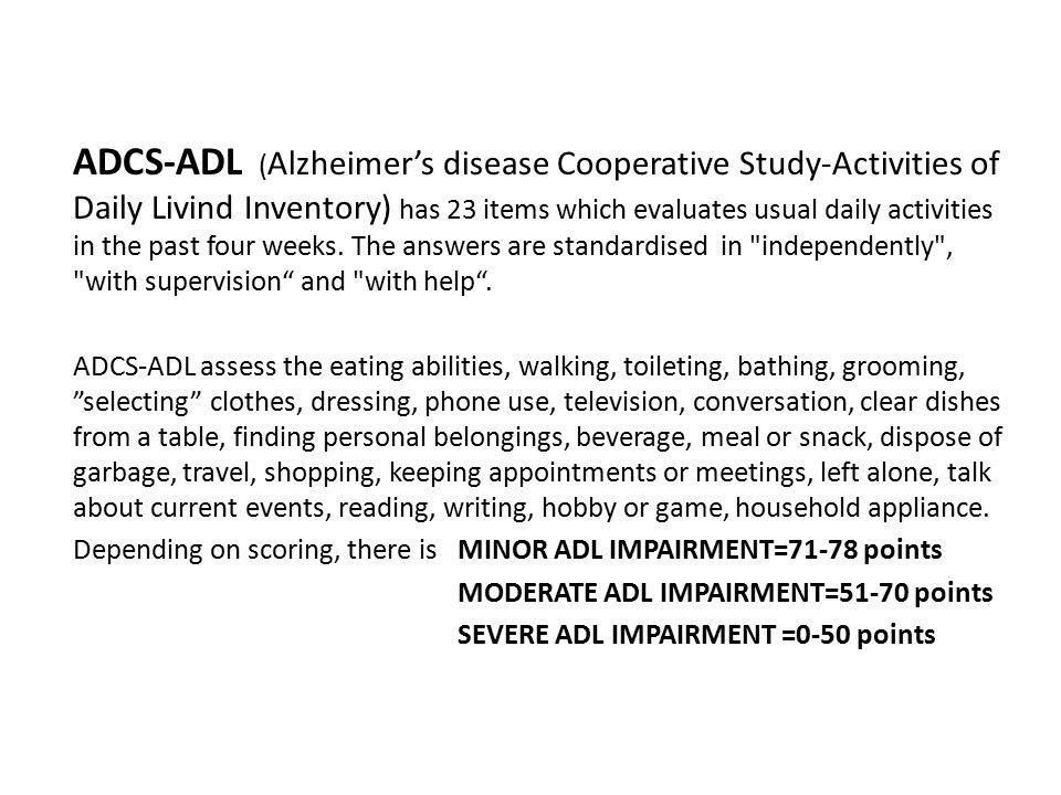 The impact of cognitive impairment on daily living activities,in