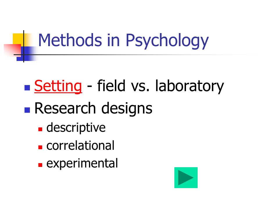 Methods in Psychology Setting - field vs.