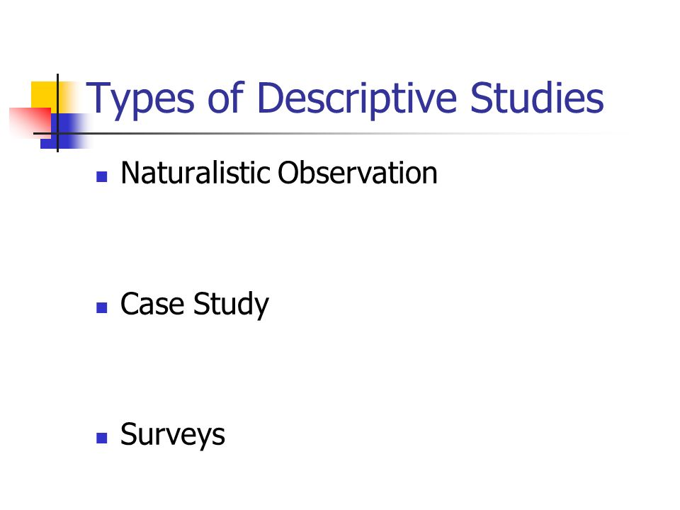 Types of Descriptive Studies Naturalistic Observation Case Study Surveys
