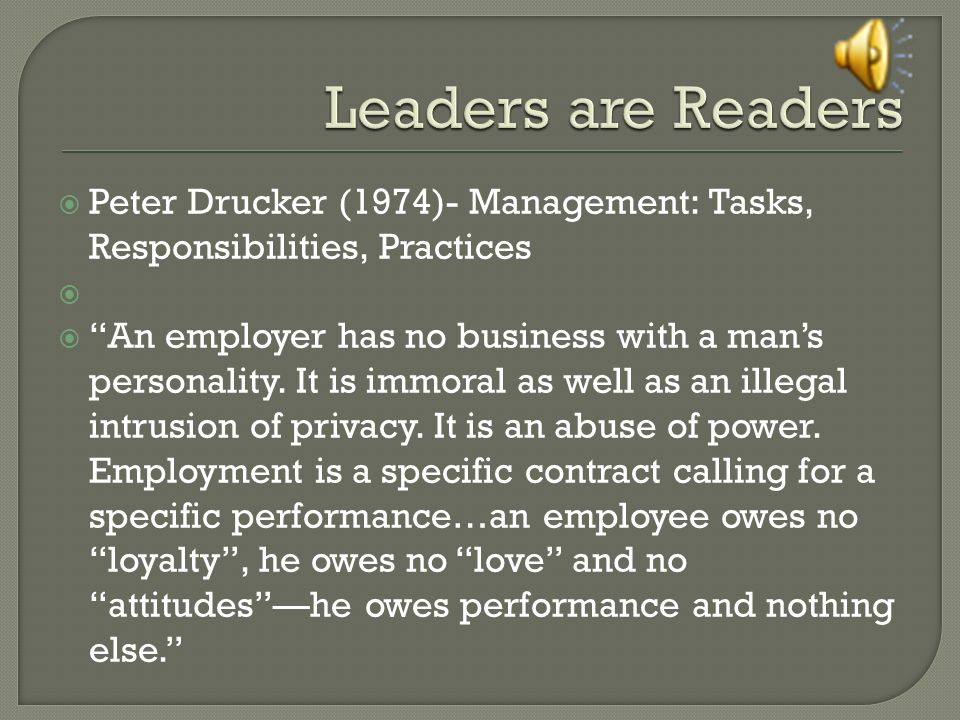 Personality And Attitudes Peter Drucker 1974 Management Tasks