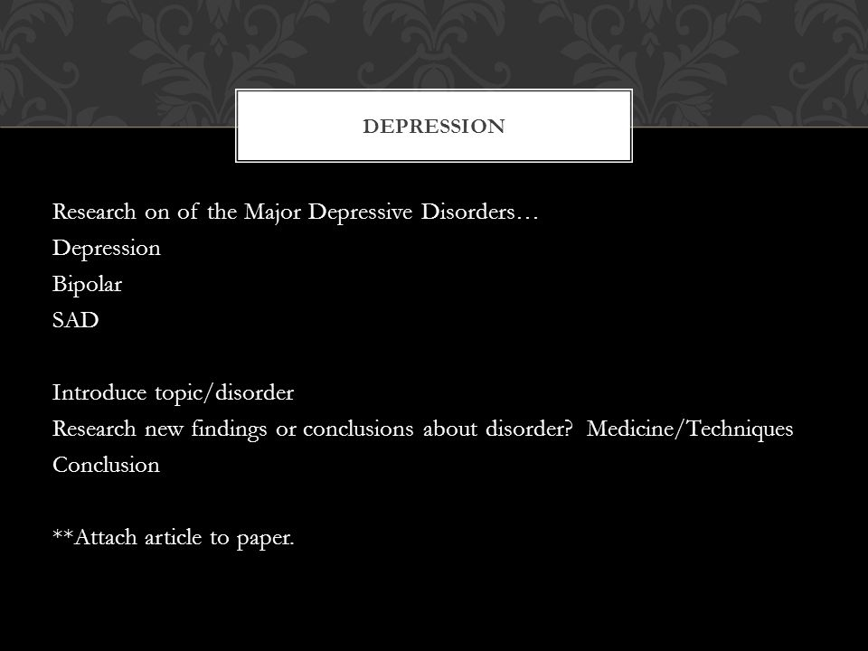 essay depression disorder Below is an essay on major depressive disorder from anti essays, your source for research papers, essays, and term paper examples major depressive disorder there are many vulnerability factors that put certain people at a greater risk than others.
