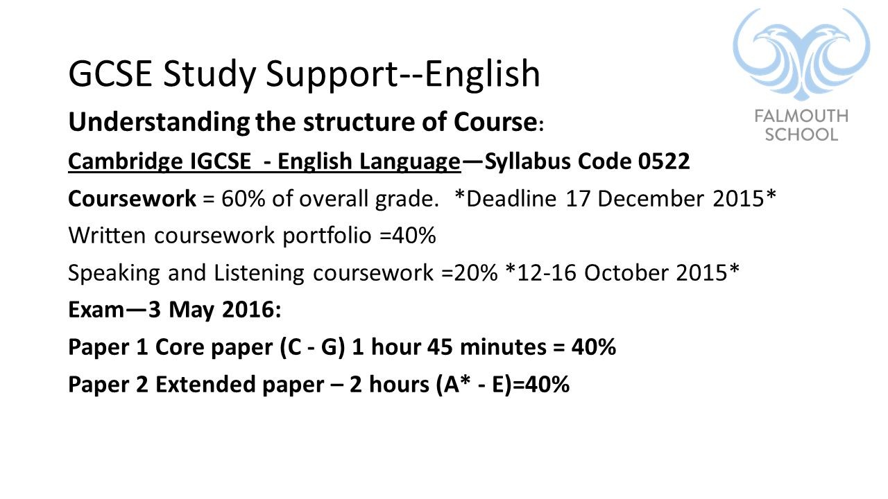 igcse english 0522 coursework deadline 2016