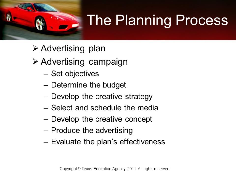 The Planning Process  Advertising plan  Advertising campaign –Set objectives –Determine the budget –Develop the creative strategy –Select and schedule the media –Develop the creative concept –Produce the advertising –Evaluate the plan's effectiveness Copyright © Texas Education Agency, 2011.