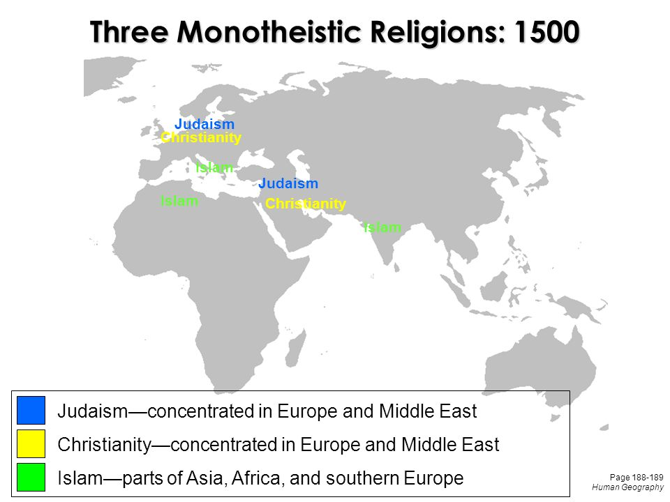 Judaism Christianity Islam Three Monotheistic Religions: 1500 Judaism—concentrated in Europe and Middle East Christianity—concentrated in Europe and Middle East Islam—parts of Asia, Africa, and southern Europe Page Human Geography