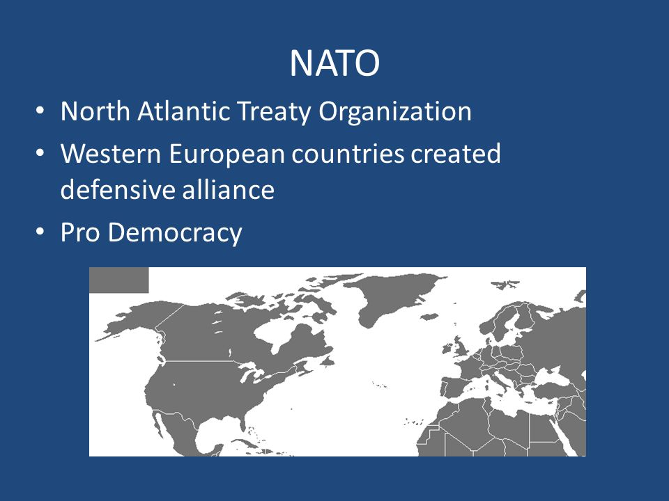 NATO North Atlantic Treaty Organization Western European countries created defensive alliance Pro Democracy