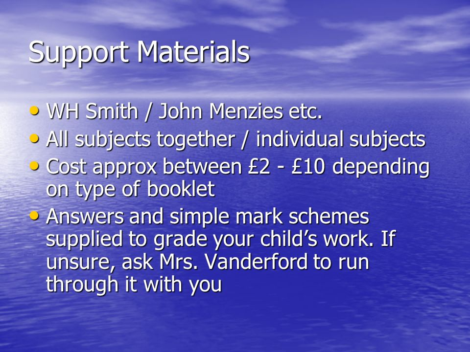 Support Materials WH Smith / John Menzies etc. WH Smith / John Menzies etc.