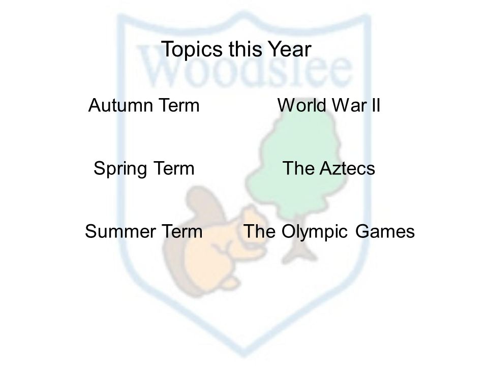 Topics this Year Autumn TermWorld War II Spring TermThe Aztecs Summer TermThe Olympic Games