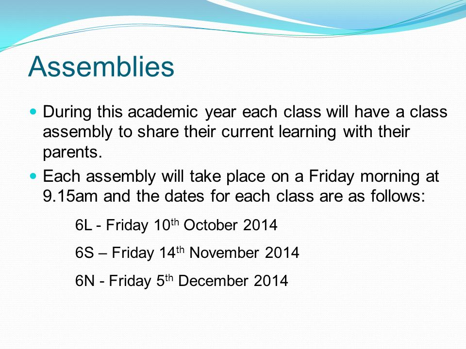 During this academic year each class will have a class assembly to share their current learning with their parents.