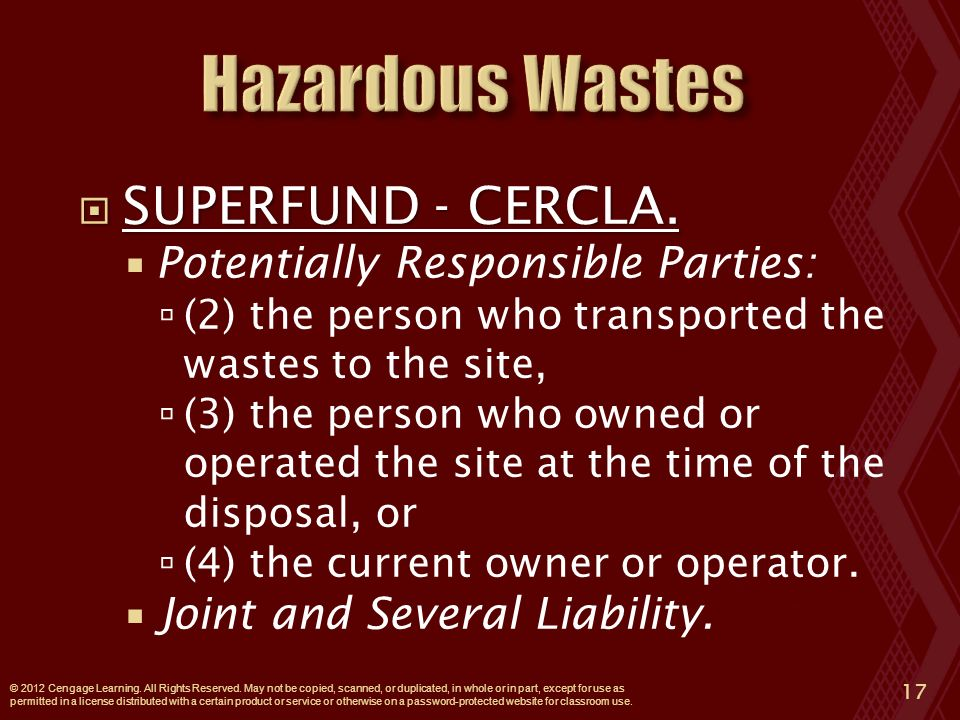  SUPERFUND - CERCLA.