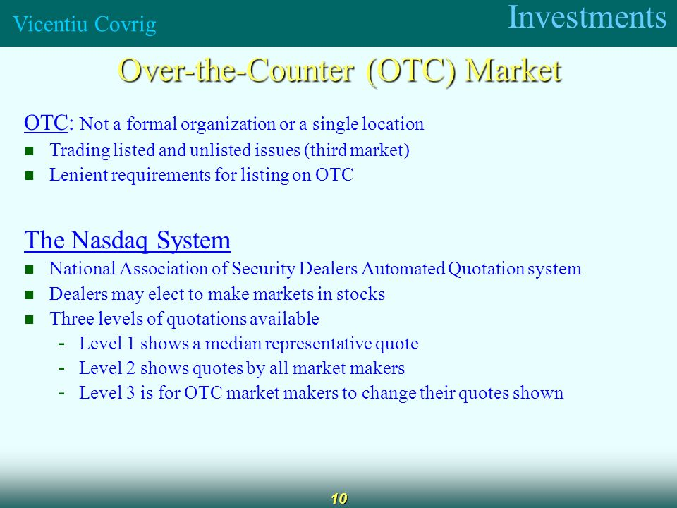 Investments Vicentiu Covrig 1 Securities Markets Chapter 6 Ppt