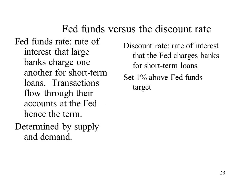26 Fed funds rate: rate of interest that large banks charge one another for short-term loans.