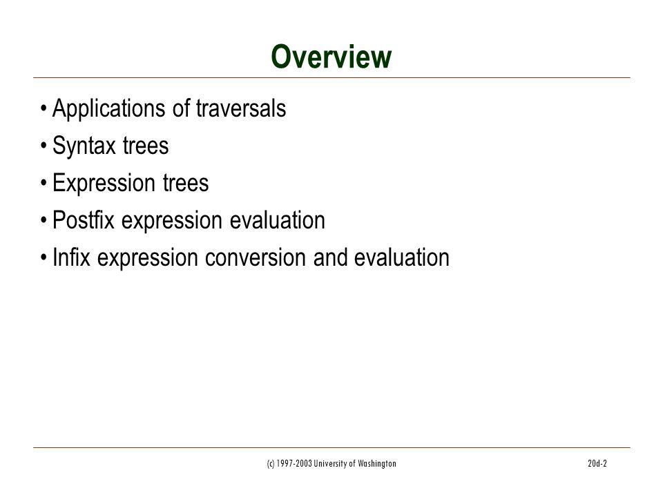 c) University of Washington20d-1 CSC 143 Java Applications of Trees