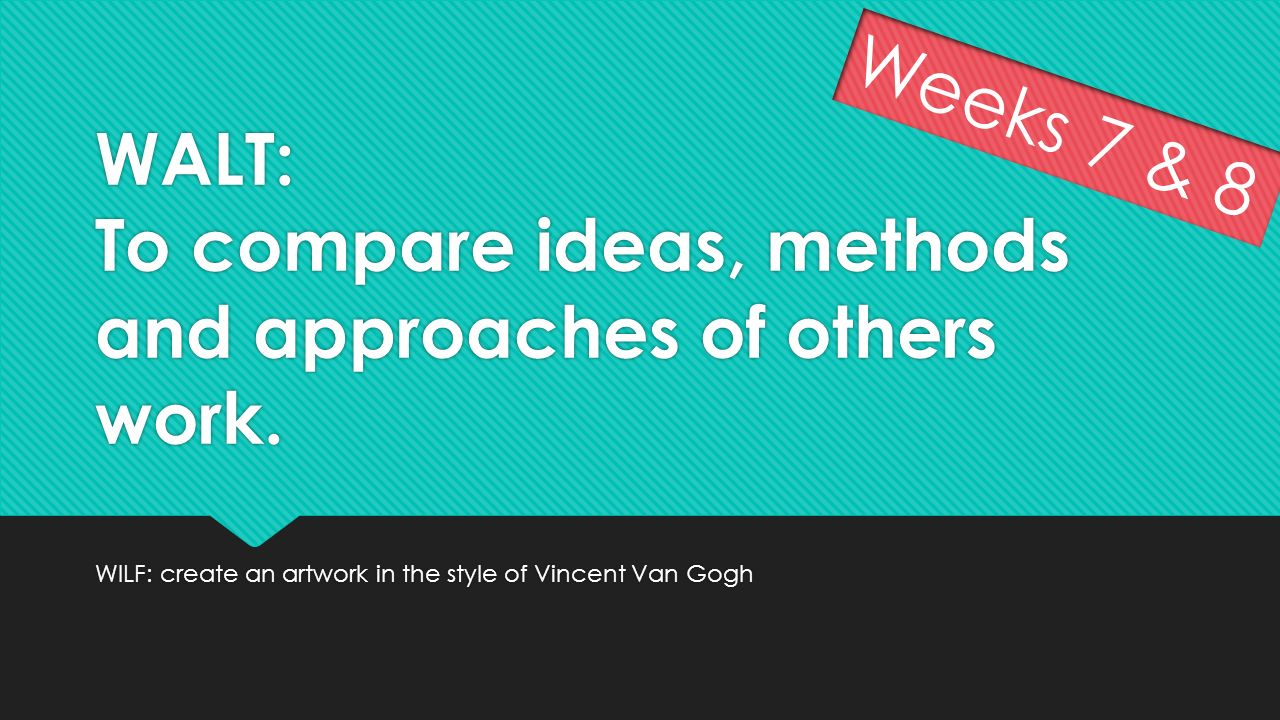 WALT: To compare ideas, methods and approaches of others work.