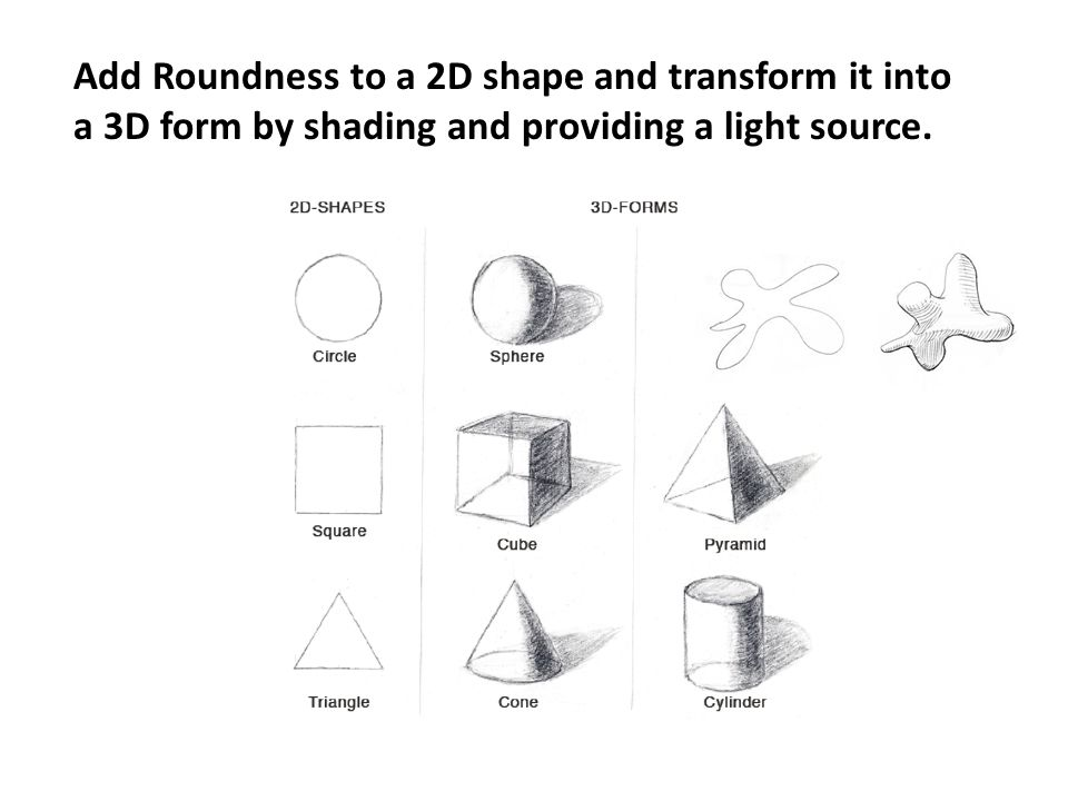 Add Roundness to a 2D shape and transform it into a 3D form by shading and providing a light source.