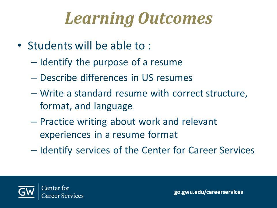 go.gwu.edu/careerservices resume writing for international students, Gwu Presentation Template, Presentation templates