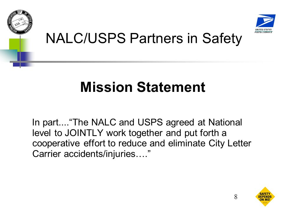 1 Nalcusps Partners In Safety Nalcusps Joint Safety Committee